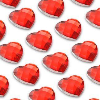 Cyrkonie serca 10 mm (czerwony) - 50 szt.